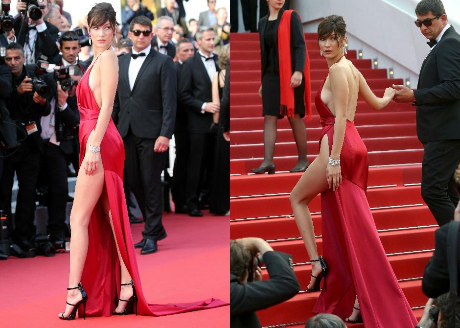 Белла Хадид в красном платье Канны