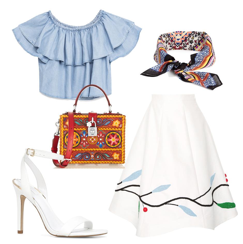 Выбор ELLE: юбка Vika Gazinskaya, босоножки Aldo, мини—сатчел Dolce&Gabbana, шейный платок H&M