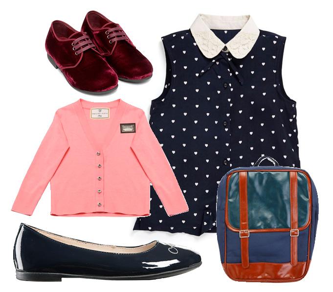 Выбор ELLE: лодочки Armani Junior, броги Dolce&Gabbana, блузка Next, кардиган Philipp Plein, ранец Centro